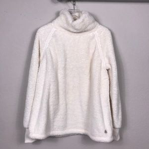 Old Navy Fleece Cowl Neck Sweater Cream Sz XL